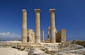 temple of athena lindia, ancient ruins at sky, greece, rhodes