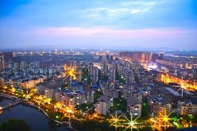 bright city night air view