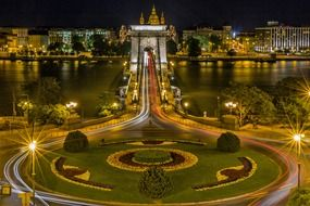 night view of chain bridge in Budapest