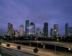skyline houston dusk downtown
