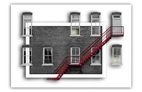 red staircase on grey facade, illustration