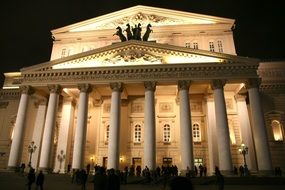 bolshoi theatre facade at night, russia, moscow