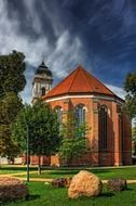st mary's cathedral in park at summer, germany, fürstenwalde