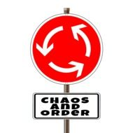 "Road sign ""chaos and order"""