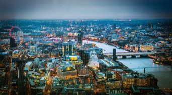 view of ciy with landmarks from the shard building, uk, england, london
