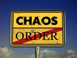 chaos with town sign