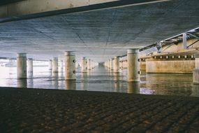 perspective of modern concrete bridge, bottom view