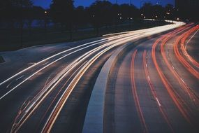 night highway lights, longtime exposure