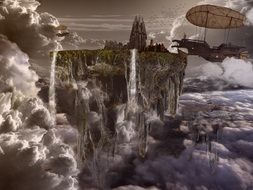 airship at city floating on clouds, fantasy illustration