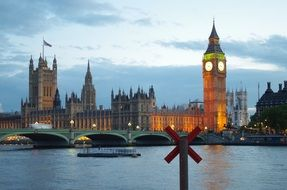 Big Ben at the Houses of Parliament at evening, uk, england, london