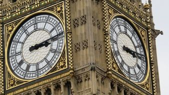 clock of big ben tower close up, uk, england, london