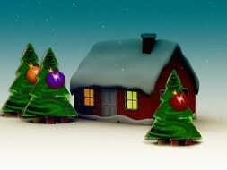 cartoon christmas trees on snow at house, illustration