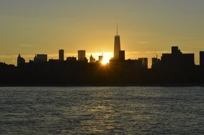 new york skyline sunrise usa ny