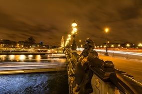 paris dark bridge street night light