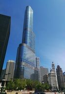 trump tower in chicago skyline, usa, illinois