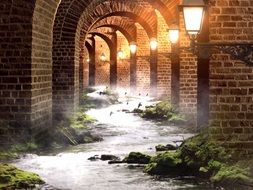 fantasy illustration with birds above river in illuminated brick arcade
