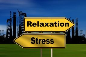 relaxation and stress, direction signs at cityscape, illustration