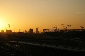 london construction city sunset