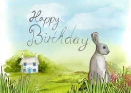 happy birthday, greeting card with bunny and house