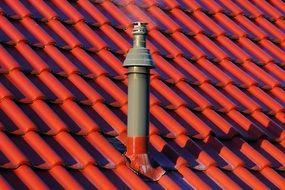 chimney on the red roof