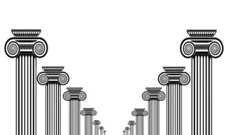 roman columns in rows, perspective, illustration