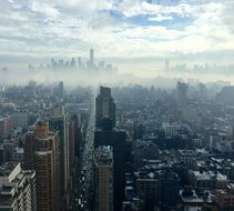 new york city in mist, top view, usa, manhattan