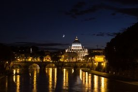 rome trastevere bridge night