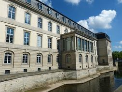 parliament of Lower Saxony in Leineschloss, old palace at river, Germany, Hanover