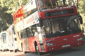 red double decker bus on road