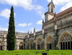 fragment of Jerónimos Monastery facade in manueline style, portugal, batalha