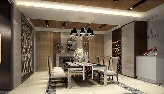 modern dining room interior, visualization