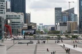 view of city from la défense to arc de triomphe, france, paris