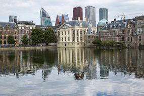 netherlands hague water reflection buildings