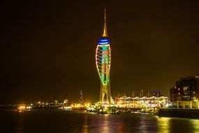portsmouth harbour at night, uk, england
