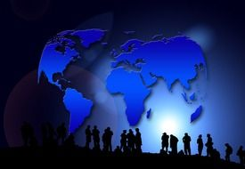 people silhouettes at blue earth map, digital art