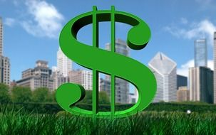 green dollar sign in front of city