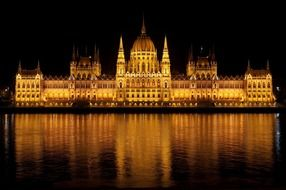 parliament building in golding lighting with reflrction on water at night, hungary, budapest