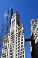 Wrigley Building at sky, usa, illinois, chicago