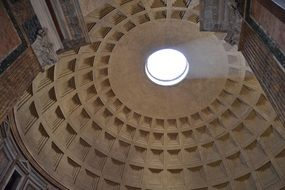 ceiling of dome in pantheon, italy, rome