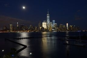skyline of new york city at night, usa, manhattan