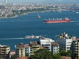 outlook of bosphorus wish ships and cityscape, turkey, istanbul