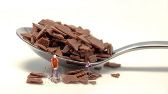 worker with jack hammer breaking chocolate pieces, collage
