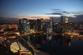 singapore at night lights skyline