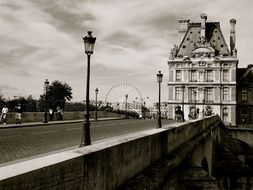 beautiful old building at bridge, france, paris
