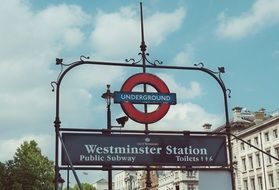 Westminster station sign in London, England