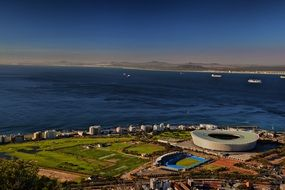 aerial view of stadium at ocean, south africa, cape town