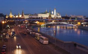 night view of kremlin and river, russia, moscow