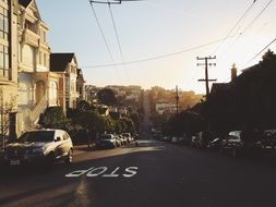 old street at evening, usa, california, san francisco