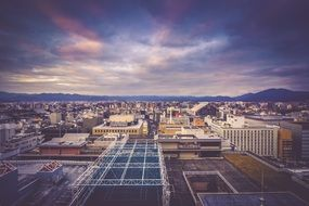 kyoto city at evening, top view, japan