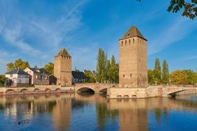 medieval Henry Tower and canon bastion, France, Strasbourg